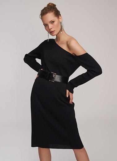 People By Fabrika Tek Omuz Elbise Siyah